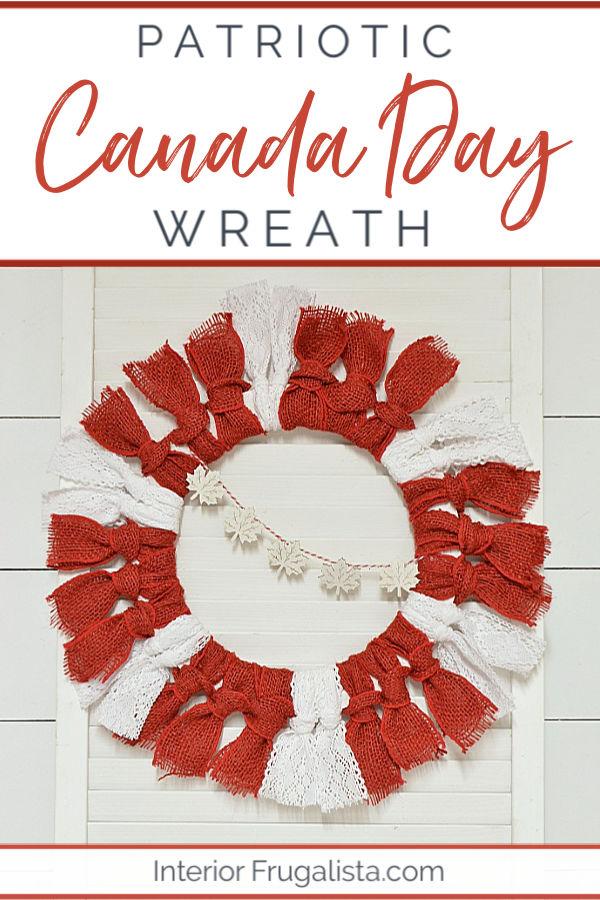 Patriotic Canada Day Wreath Dollar Store Craft. #patrioticcrafts #patrioticwreath #patrioticdoorwreath