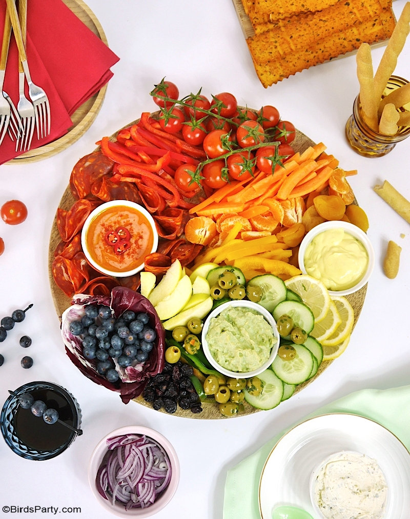 Rainbow Grazing Board for Saint Patrick's Day - easy, no-cook snack meal idea for entertaining or celebrating St Paddy's Day at home!