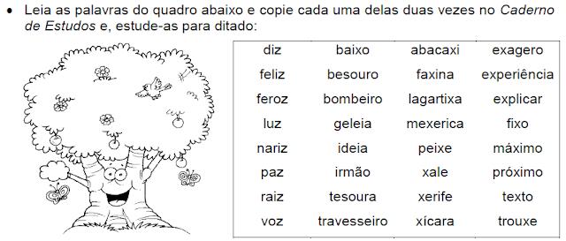 Atividade com palavras que têm SONS DO X, DITONGO e VOGAL+Z