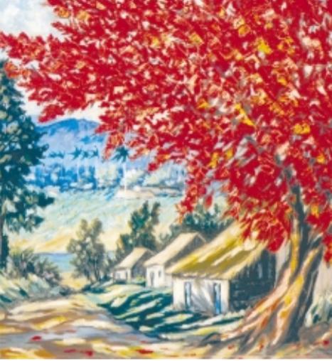 Paisaje con flamboyan en primer plano, 1967