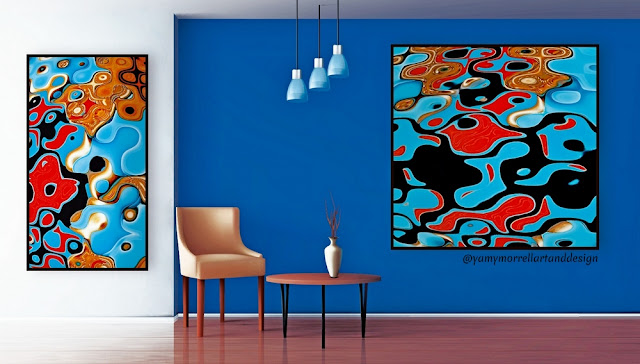 colorful-abstract-blue-brown-art-set-by-yamy-morrell