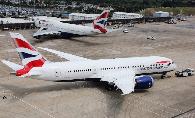 british airways boeing 787 and boeing 747