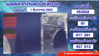 Thailand Lottery Results 01 December 2019 Live Streaming Online