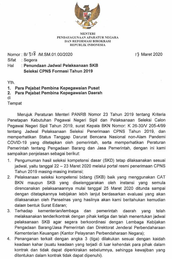 Surat Edaran Menpan RB Tentang Penundaan Jadwal Tes SKB CPNS Tahun Anggaran 2019