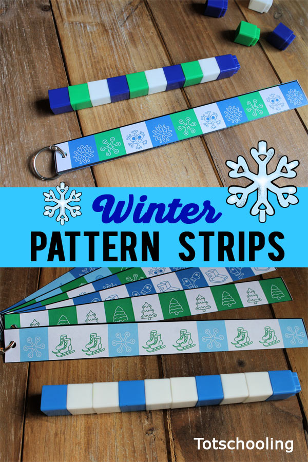 FREE printable Winter themed pattern strips for preschoolers to practice their math and fine motor skills. Perfect for an indoor Winter activity when stuck indoors, or for a math center in the classroom!