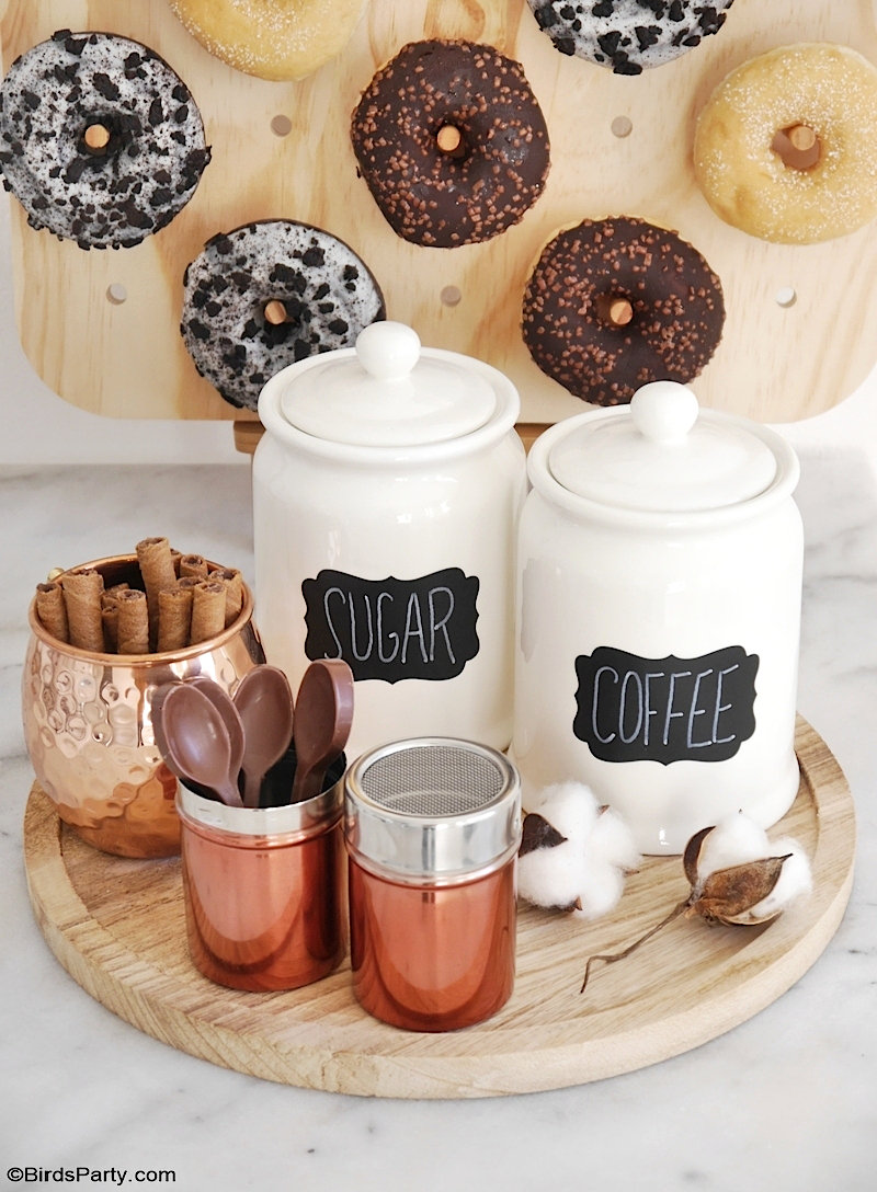 How to Style a Coffee and Donuts Bar for a Party - easy, quick and inexpensive DIY craft projects and ideas to set up a drinks station for entertaining! by BirdsParty.com @birdsparty #coffeebar #coffeestation #diycoffeebar #coffeedonutspartyideas #partyideas #winterparty #babyshower #bridalshower #donutsparty #donutswall #diydonutswall #diydonutsboard #donutsbirthday