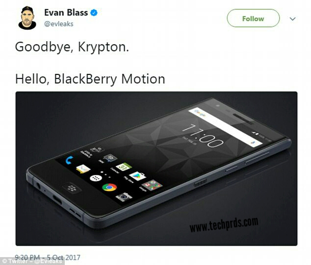 BlackBerry Motion Phone Leaked on Twitter & Facebook