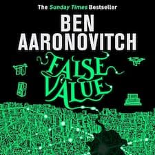 False Value (Rivers of London, #8) audiobook cover. A map of london in green on a black backdrop, with a towel holder, drone, and computer hardware.