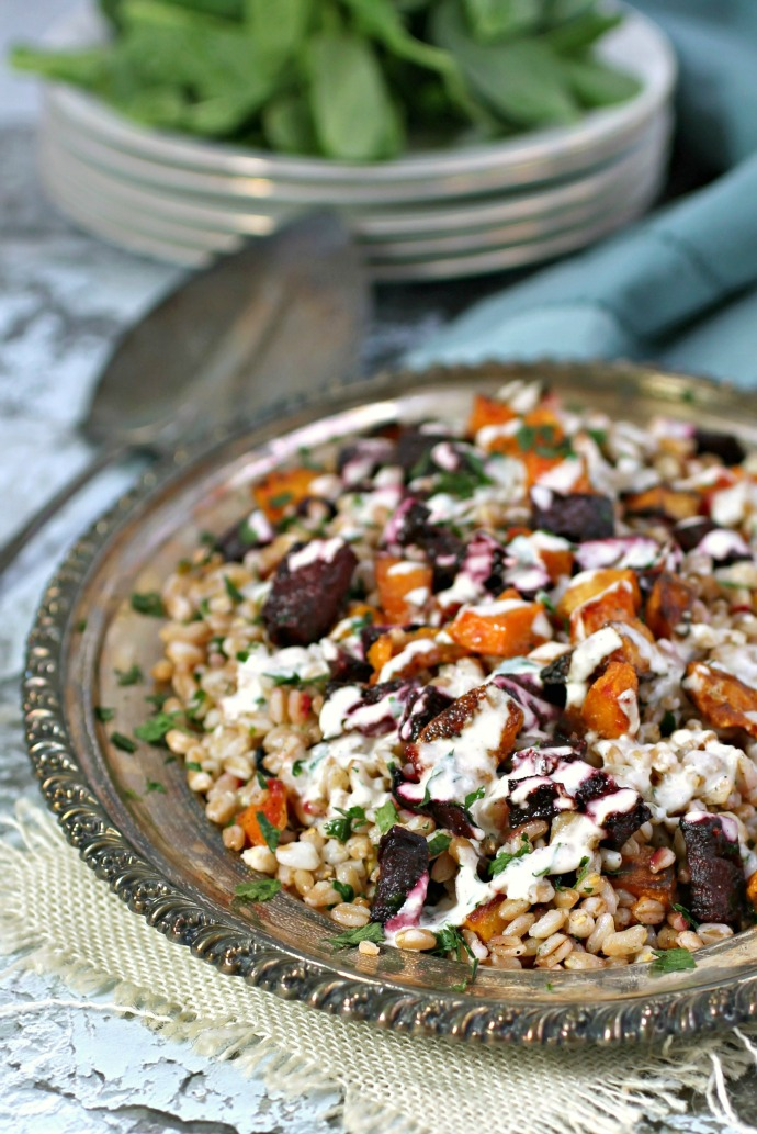 Warm Roasted Vegetable and Farro Salad