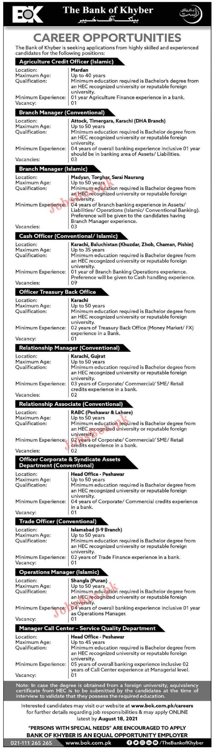 BOK Bank of Khyber Jobs 2021 in Pakistan - www.bok.com.pk Jobs 2021 - BOK Jobs 2021