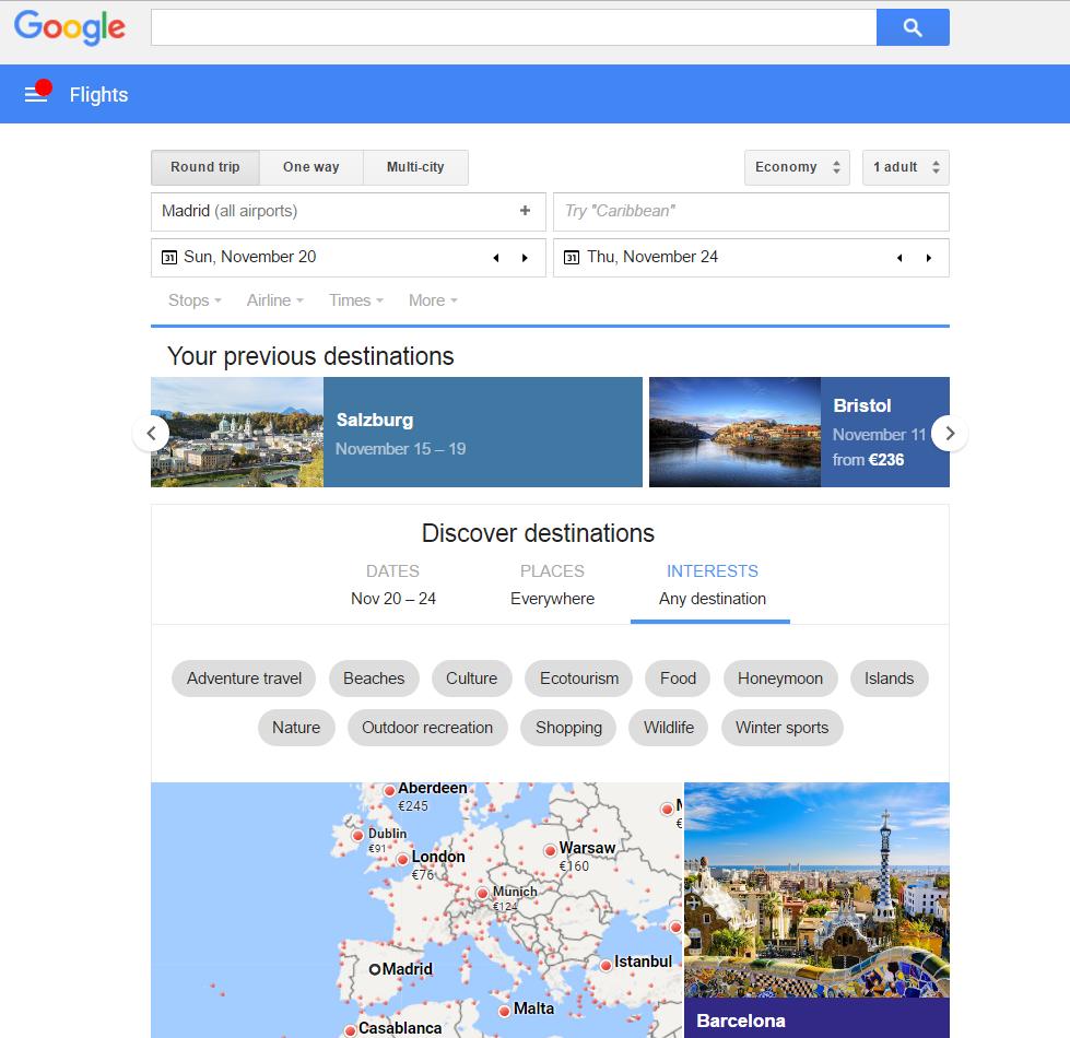 monitorizando precios de vuelos con google flights medio