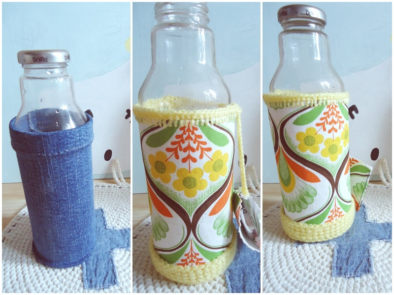 butelka na wodę w praktycznym pokrowcu DIY, zero waste