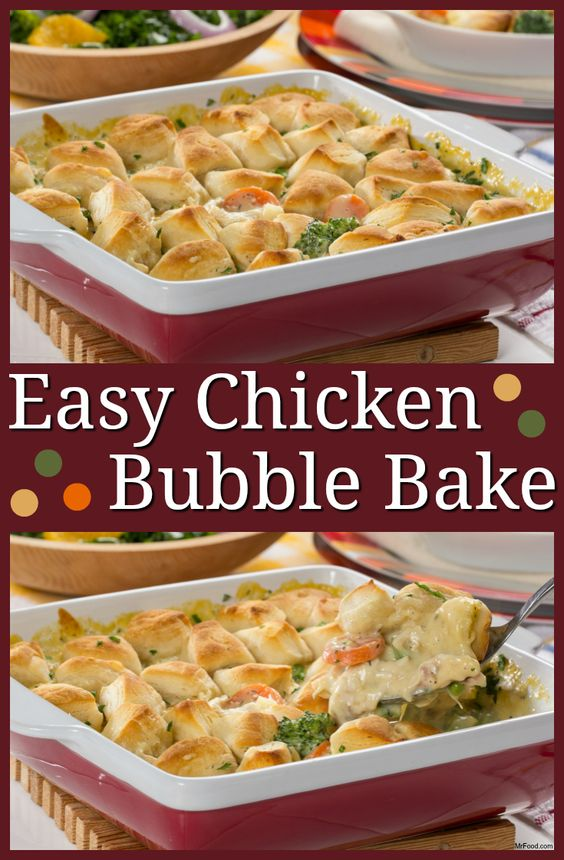 "The creamy chicken filling isn't the only thing that ""bubbles up"" in this Easy Chicken Bubble Bake. When you set it to bake with the biscuits on top, you'll find that the whole casserole ""rises"" to the occasion. What's the occasion? A fantastic evening dinner!"