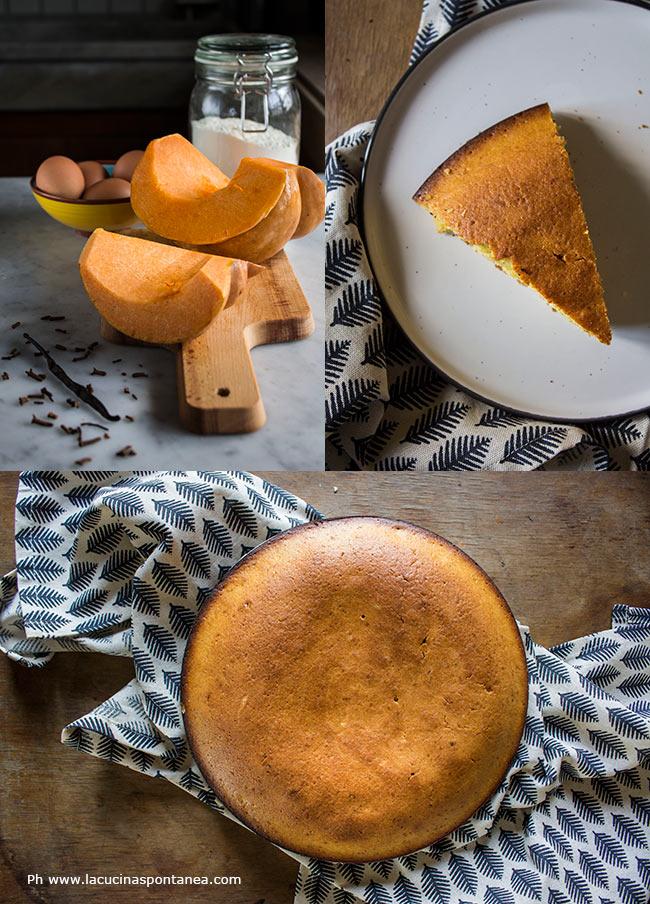 Immagine con più foto di torta alla zucca