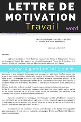 Exemple de lettre de motivation word