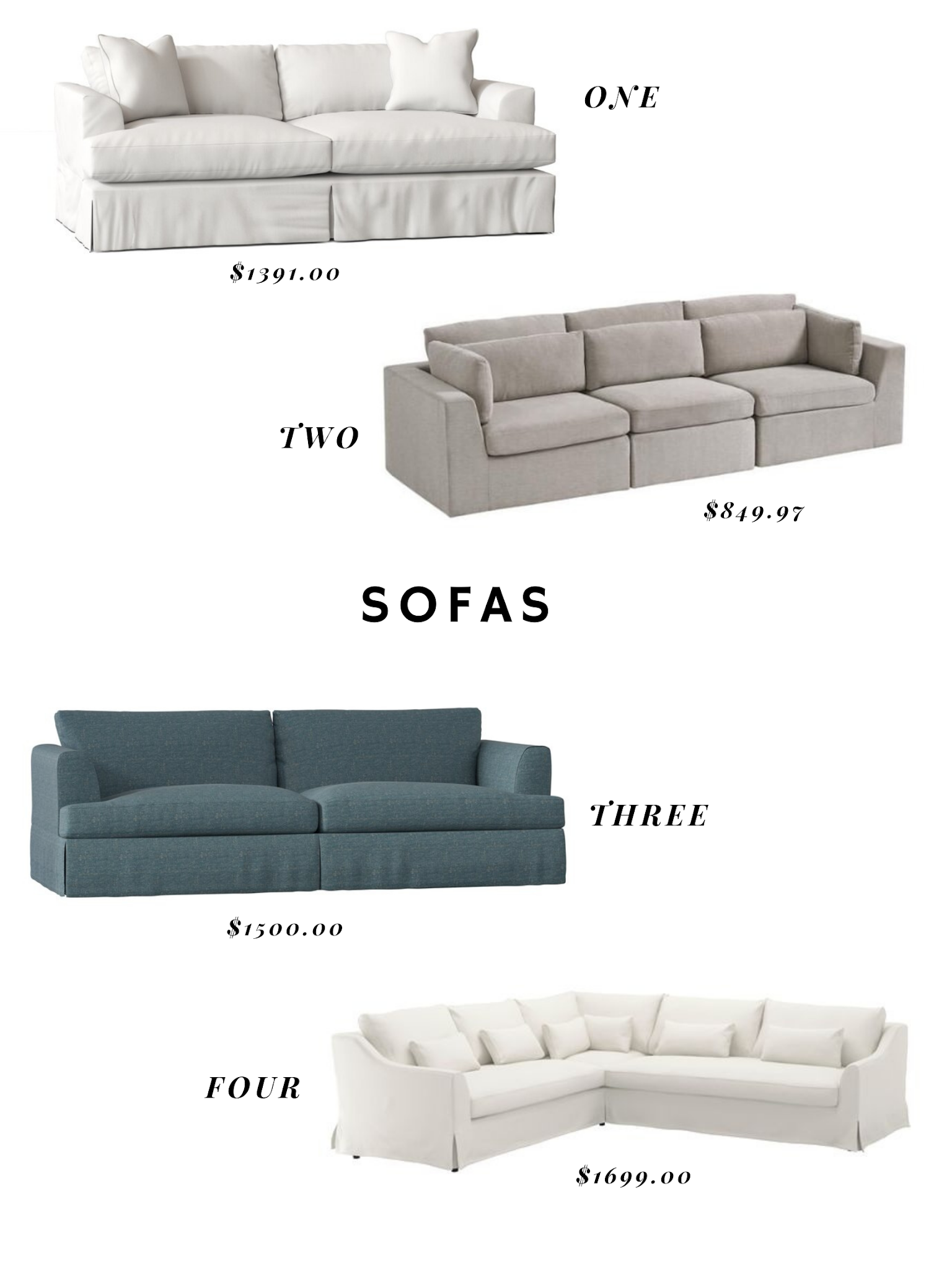 SOFA OPTIONS FOR THE MEDIA ROOM / PLAYROOM / FAMILY ROOM