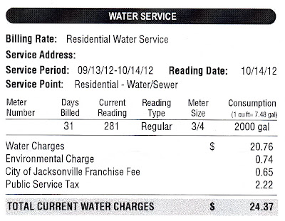 Residential Water Service - 9/13/12-10/14/12 - Jacksonville, FL