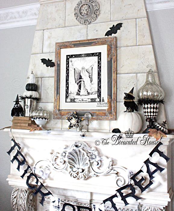 Elegant Black and White Halloween Decor :: The Decorated House Halloween Mantel