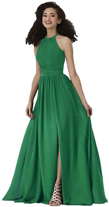 Beautiful Chiffon Halter Bridesmaid Dresses
