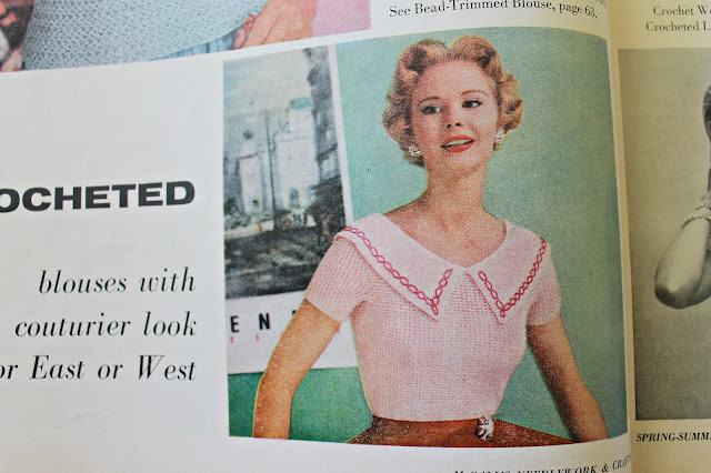 free 1950s beaded collar blouse crochet pattern