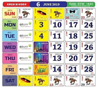 Kalendar Jun 2019
