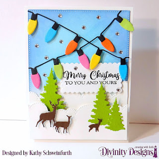 Stamp Set: True Light, Custom Dies: Christmas Lights, Trees & Deer, Cloud Border, Scalloped Rectangles, Pierced Rectangle