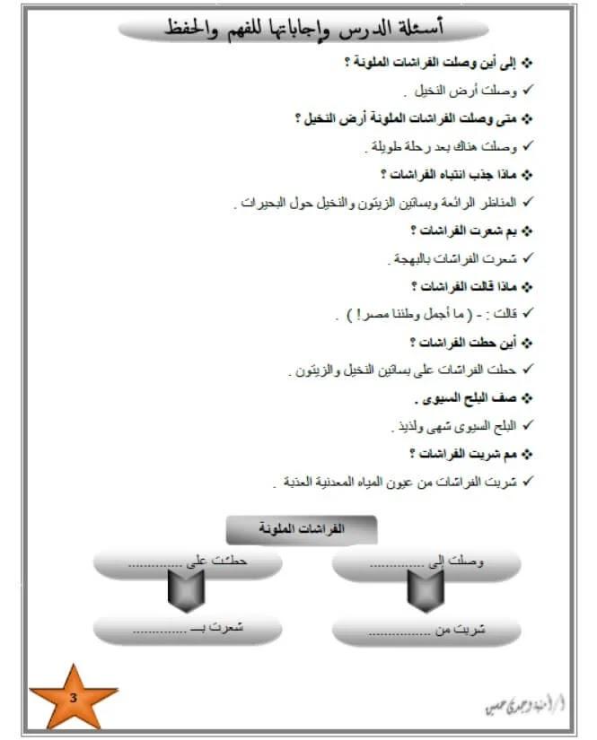 مذكرة عربي للصف الثالث الابتدائي الترم الثاني لعام 2021