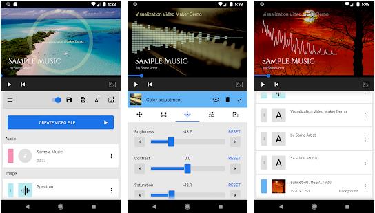 Audio Spectrum merupakan bentuk audio yang dapat menampilkan grafik visual yang berbentuk naik turun dalam mengikuti alunan beat audio ataupun musik yang sedang kita mainkan melalui smartphone android sehingga audio tersebut lebih menarik untuk dilihat.     Audio Spectrum bermanfaat dalam pembuatan perencanaan dan juga dalam pengujian rangkaian frekuensi audio misalnya : audio yang alunan selow akan di ikuti sesuai dengan spectrum yang sudah tersedia. Dengan adanya Audio Spectrum Video yang kita buat akan lebih indah dan sempurna.    Aplikasi Visualizaton Video Maker merupakan sebuah aplikasi android yang dipergunakan untuk membuat spectrum dari audio  melalui Smartphone android anda dan akan di kompres menjadi Videoyang indah dan menarik sehingga tidak bosan ketika kita tampilkan berulang-ulang.     Jadi, dengan adanya aplikasi Visualization Video Maker ini kita tidak perlu membayar jasa pengeditan video kita dapat membuat sendiri karena sangat mudah dan simple di aplikasikan.       Fitur-fitur dalam Aplikasi Visualization Video Maker    1. Terdapat 2 Output format video :  Memiliki ukuran360p  sampai 1080p (tergantung pilihan kita dalam memilih format) Bitrate 200 sampai 30.000kbps  2. Editing atau Pengeditan  Memiliki pratinjau saat kita melakukan editing sehingga tidak banyak kesalahan Dalam pengeditan video terdapat banyak Trekgambar tanpa terbatas jadi kita bebas memilih sesuai keinginan kita ketika mengedit video Trekteks  tanpa batas dan tersedia banyak pilihan sesuai keinginan kita dalam mengedit video  Mute / unmute yang terdapat dalam setiap item 3. Spectrum  Berbentuk batang  Spectrum garis Spectrum lingkaran  Terdapat spectrum tekstur yang telah ditetapkan Memiliki spectrum gambar khusus 4. Parameter Spectrum  Memiliki jumlah bar berukuran 10 sampai 256 tergantung kita memilih ukuran berapa yang ingin kita gunakan karena semakin tinggi ukuran tingkat kapasitas yang kita gunakan maka semakin bagus video yang kita edit. Terdapat Garis puncak ketebalan dal