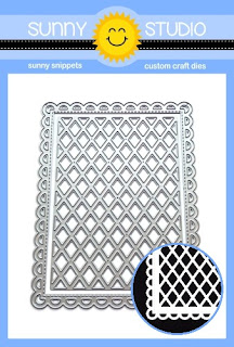 Sunny Studio Stamps: Frilly Frames Lattice Stitched Scallop Mix & Match Background Mat Dies