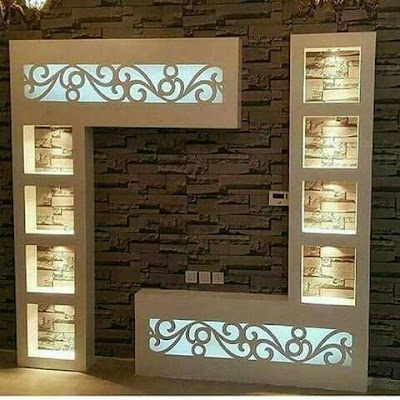 Gypsum tv wall cabinets designs catalogue 2019