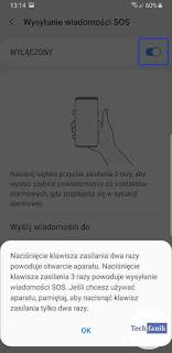 Samsung Wysyłanie wiadomości sos powiadomienie