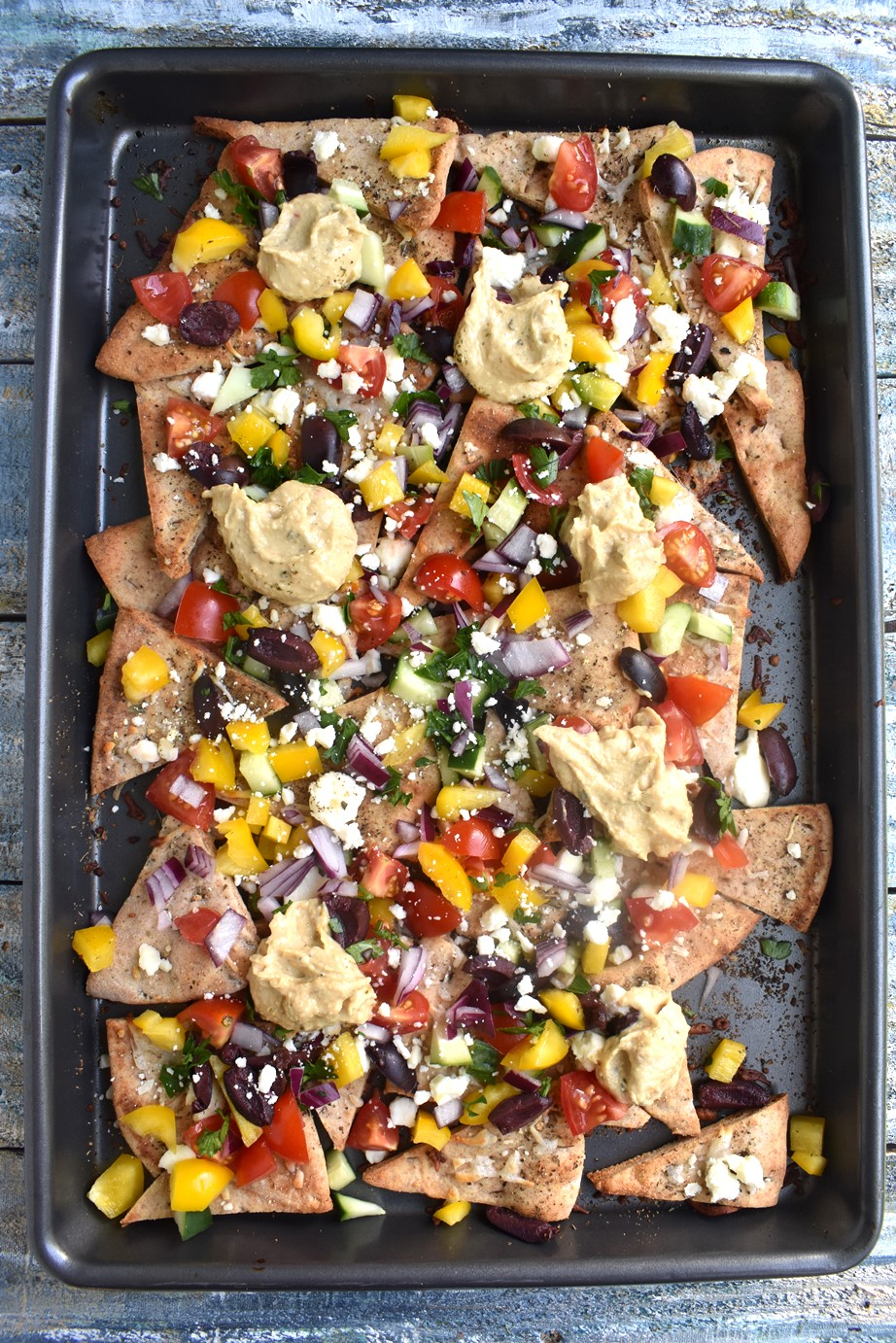 tray of Greek nachos
