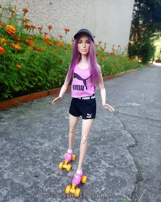 Mattel Barbie doll wig roller skates