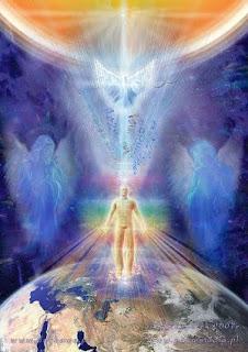 Człowiek w świecie, otoczony przez przewodników duchowych