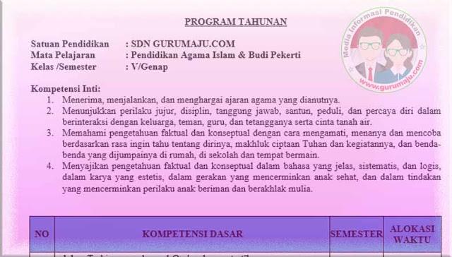 Download Prota PAI Kelas 5 Semester 2 SD K13 Revisi 2021
