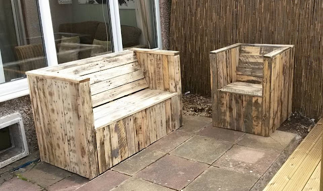 4 examples of the plans for outdoor furniture made from pallets