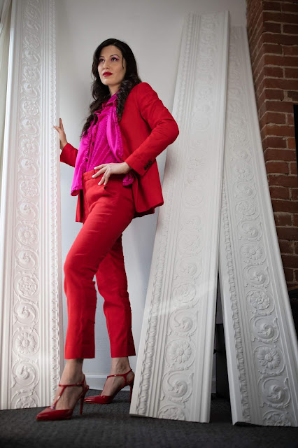 red and pink outfit, red blazer outfit, valentine's day outfit