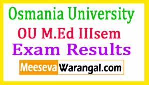 Osmania University M.Ed IIIsem Exam Results 2017