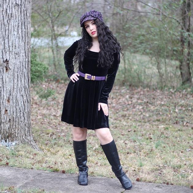 Romwe Black Velvet Skater Dress