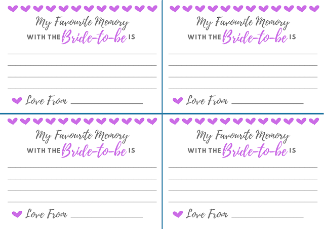 Free printable hen party memory card - in purple
