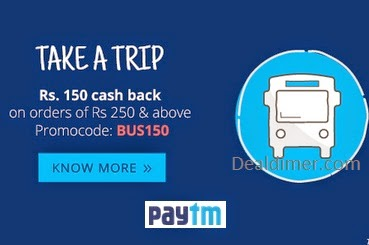 Bus Tickets Rs. 150 Cashback on Rs. 250 – PayTm