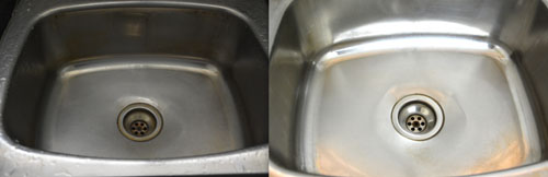 kitchen sink before and after cleaning