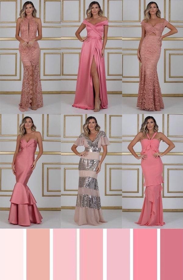 paleta vestido rosa para madrinha de casamento