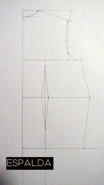 Patrón base espalda de una persona con más contorno de cintura que de cadera