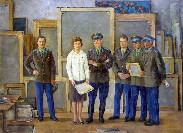 «Космонавты в мастерской художника», Переяславец Владимир Иванович, 1970 г.
