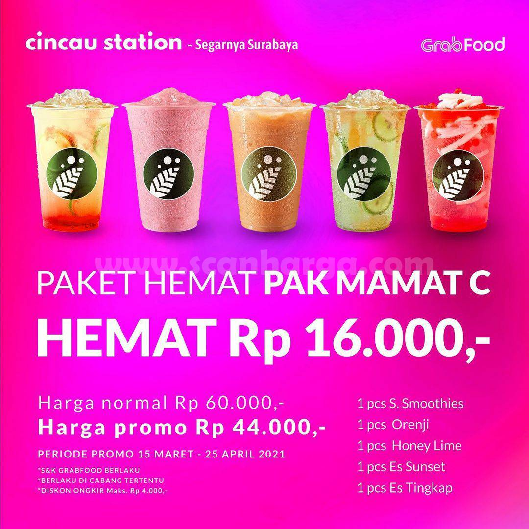 Promo Cincau Station Paket Hemat Pak Mamat! Diskon Rp 16.000 via GrabFood