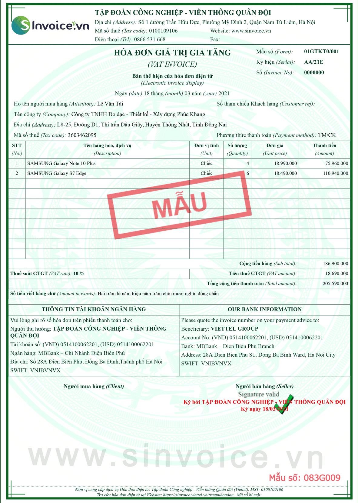 Mẫu hóa đơn điện tử số 083G000
