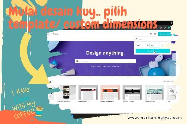 cara membuat infografis blog di canva pilih template atau custom size