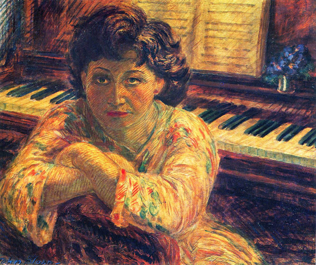 Girl, Back to the Piano tempera