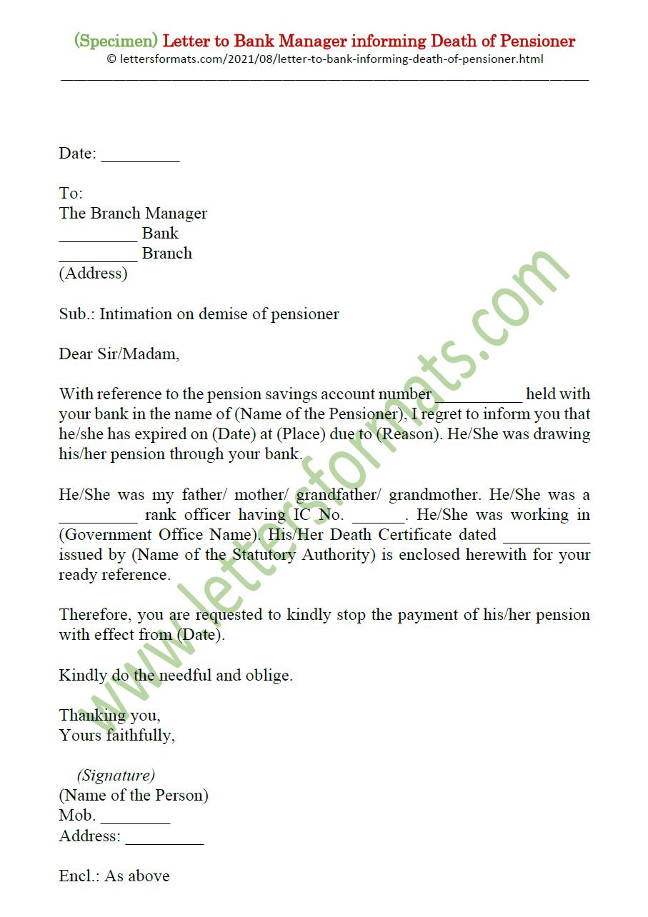 Sample Letter to Bank Manager informing Death of Pensioner
